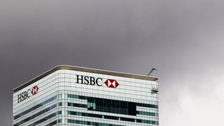 The HSBC building is seen on Canary Wharf