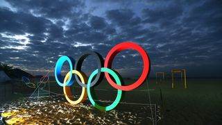 The Olmypic Rings are displayed at the Copacabana beach ahead of the Rio 2016 Olympic Games on August 2, 2016