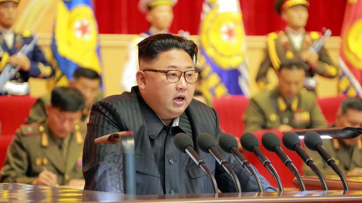 Kim Jong-Un delivering a speech in Pyongyang in August
