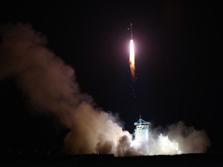 The satellite was launched  from the Jiuquan launch centre in northwest China's Gansu Province. Pic: Xinhua