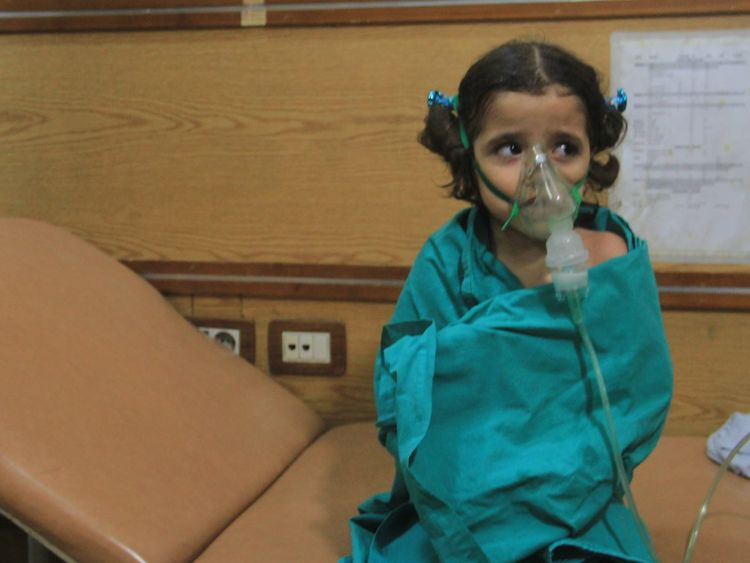 One of the victims of a suspected gas attack in Aleppo Pic: @MahmoudRashwani