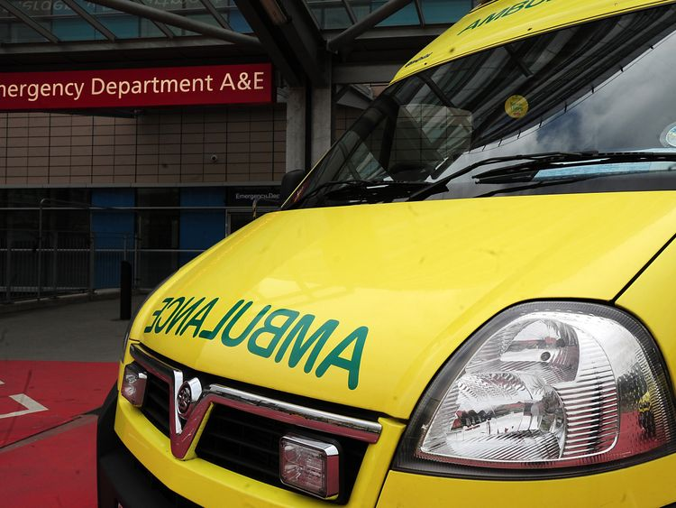 An ambulance outside an A&E. File picture