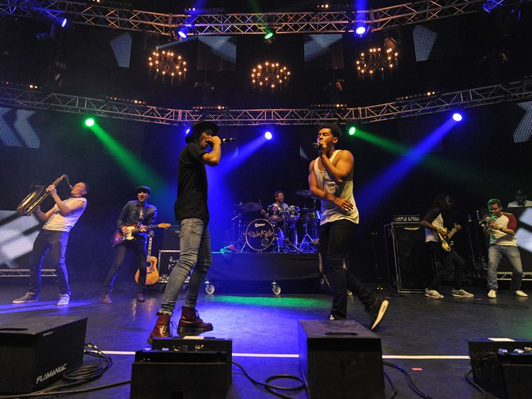 Rizzle Kicks perform at the Kiss FM Haunted House Party