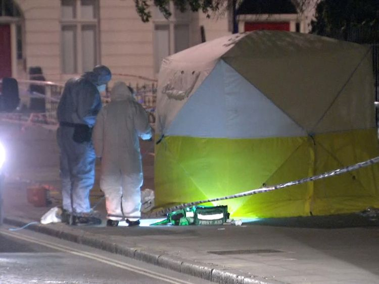 Forensic officers are at the scene of the attack