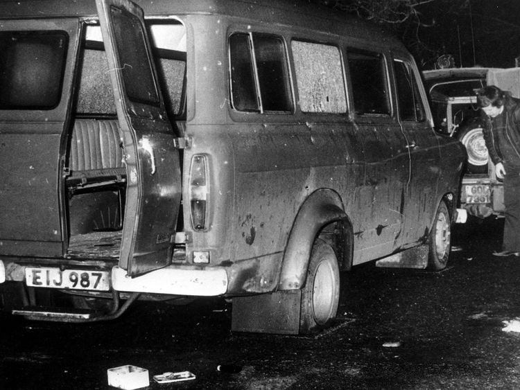 The bullet riddled minibus near Whitecross in South Armagh