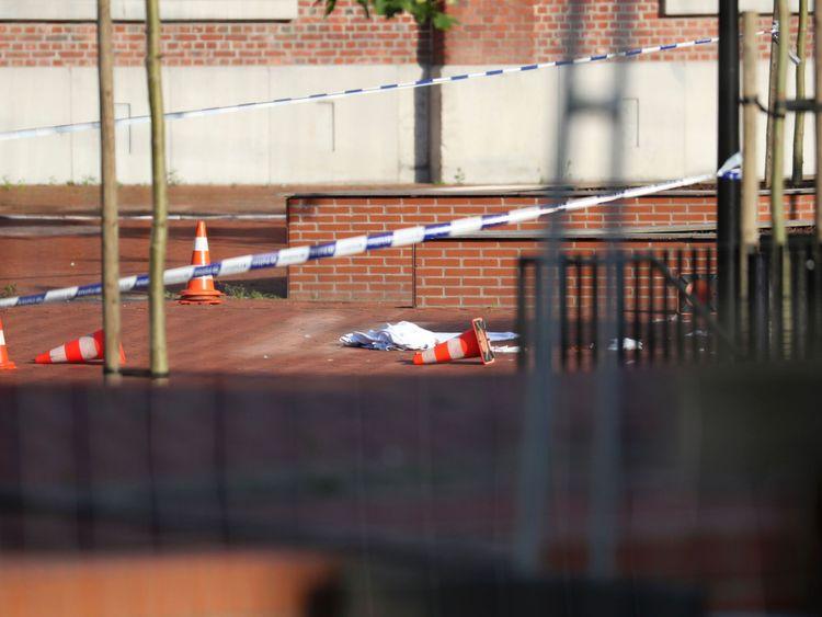 The scene of a suspected terror attack in Charleroi