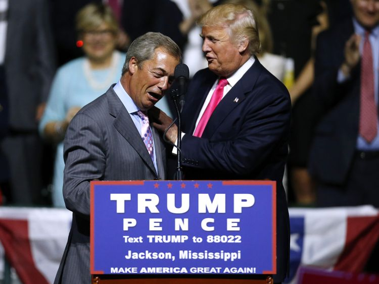 Nigel Farage on stage with Donald Trump at a campaign rally in Mississippi
