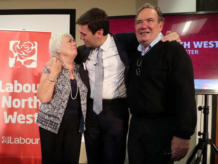 Andy Burnham hugs his parents Eileen and Roy after being selected as Labour's mayoral candidate for Manchester
