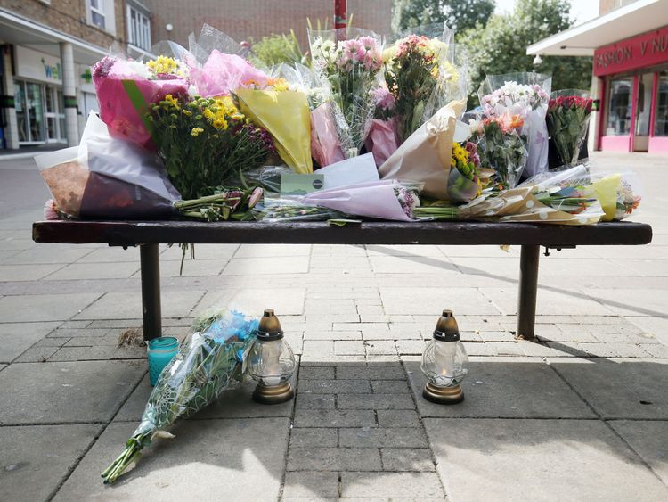Flowers are left at The Stow in Harlow, after a 40-year-old Polish man has died of head injuries following an unprovoked attack outside a takeaway. PRESS ASSOCIATION Photo. Picture date: Wednesday August 31, 2016. The possible hate crime murder of a Polish man has prompted the imposition of an order which stops potential trouble-makers from congregating. See PA story POLICE Harlow. Photo credit should read: Chris Radburn/PA Wire
