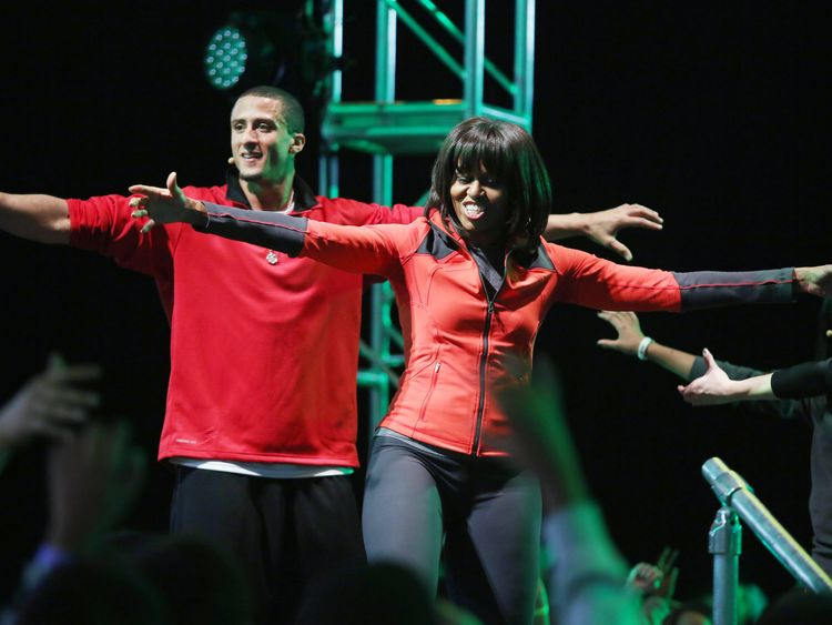 Kaepernick joined a campaign launched by Michelle Obama in 2013 to get schoolchildren fitter