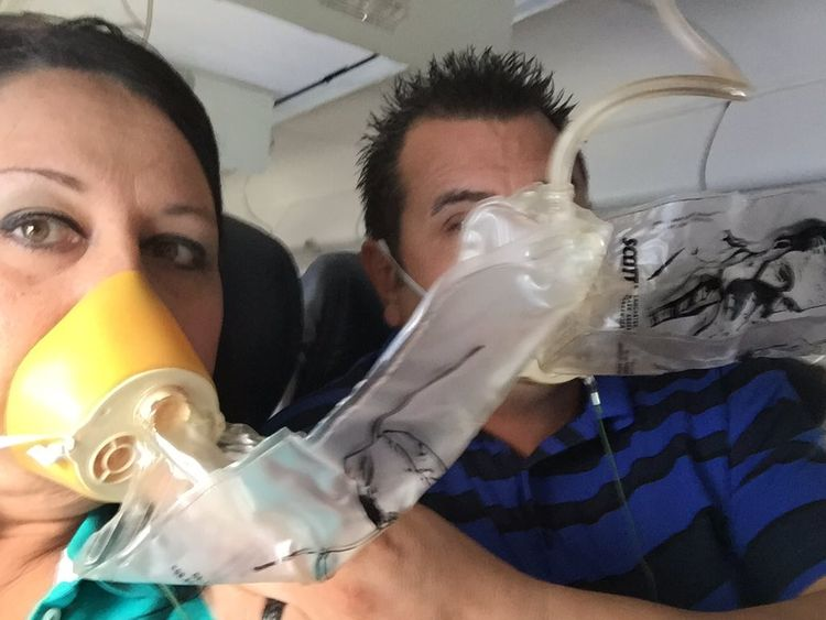 Passengers were required to wear oxygen masks when the plane descended. Pic: @smillerddd3
