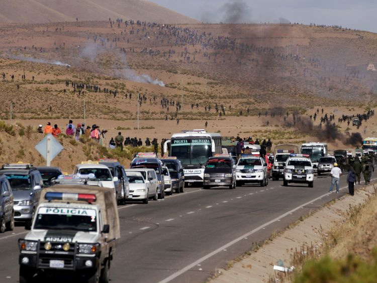 A view of the blocked motorway in Panduro, south of La Paz, Bolivia