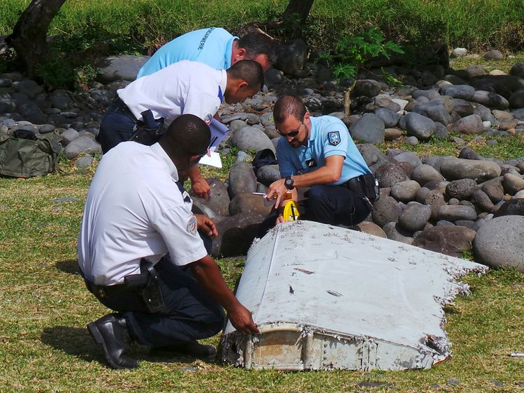The part of wing of MH370 found on Reunion Island in 2015