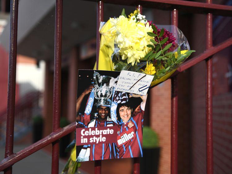 Dalian Atkinson tributes are left outside Villa Park