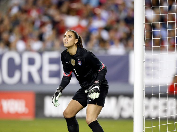 TAMPA, FL - MARCH 3:  Goalkeeper Hope Solo #1 of the United States defends the goal during the second half of the 2016 SheBelieves Cup soccer match against