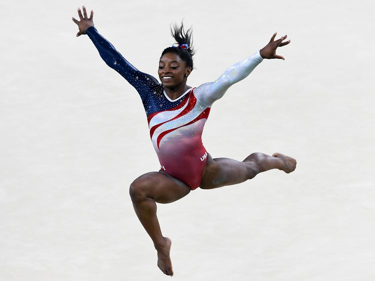 Simone Biles of the United States competes on the floor during the Artistic Gymnastics Women's Team Final at Rio 2016