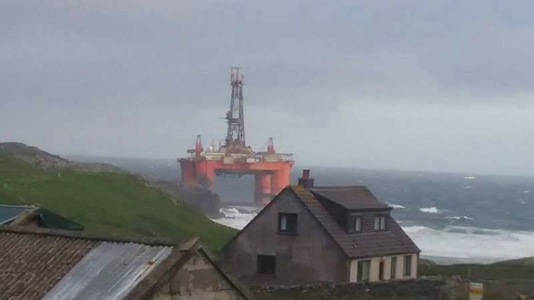 The oil rig is at risk of grounding on the Isle Of Lewis. Pic: Innes Macleod