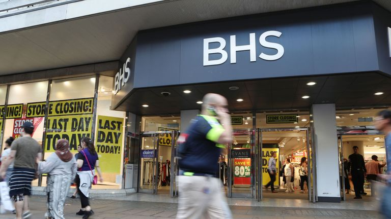 BHS on Oxford Street in London, as the flagship store prepares to pull down its shutters for the final time