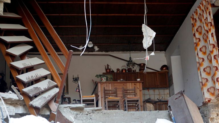 The interior of a house after the quake in Amatrice