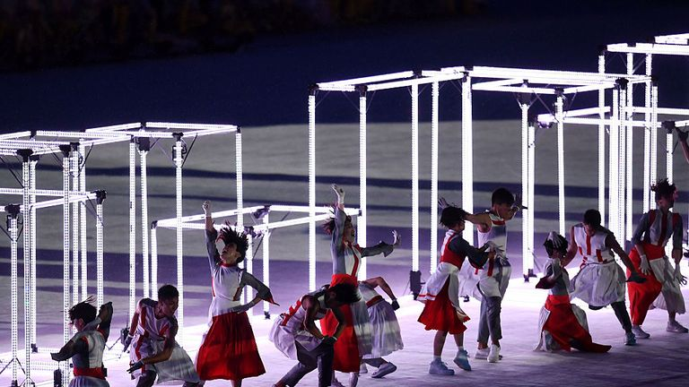 A sequence of the Rio Closing ceremony handing over to Tokyo, host of the 2020 Games
