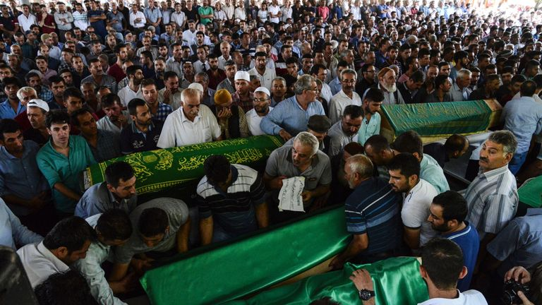 Funerals for some of the victims of the Gaziantep wedding bomb
