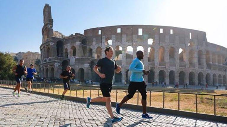Facebook chief Mark Zuckerberg goes for a jog near the Colosseum