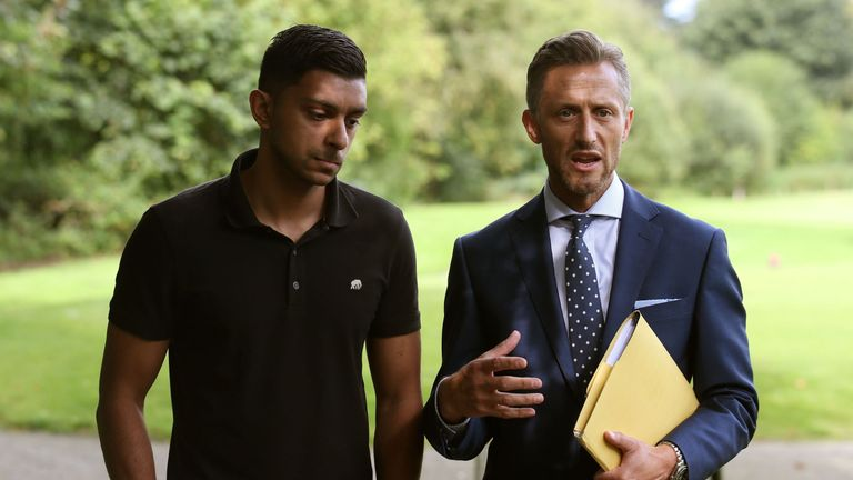 Sadat Ahmed with DCI Martin MacLean near to the location where Saima's body was found