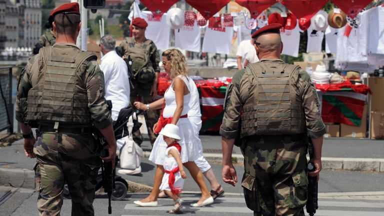 French soldiers on patrol after terror attacks