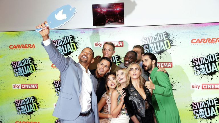 The cast of Suicide Squad take a selfie at the film's European premiere