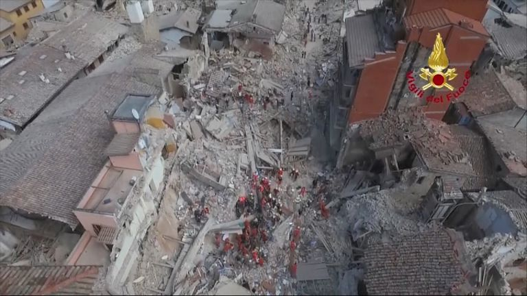 Aerial footage has revealed the scale of the devastation of an Italian town caused by a powerful 6.2 magnitude earthquake.