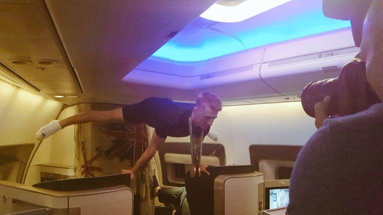 Team GB on board the plane
