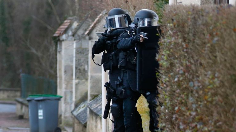 French anti terror police in Paris