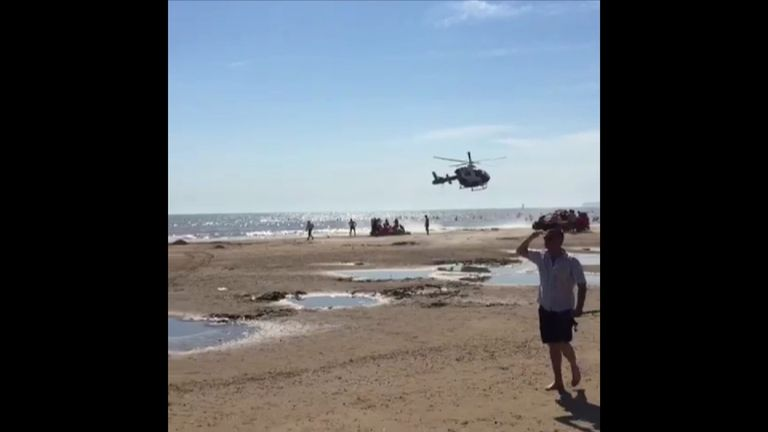 An air ambulance attended the scene on the beach in Rye, East Sussex
