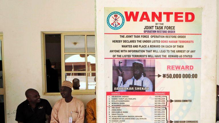 Abubakar Shekau wanted poster