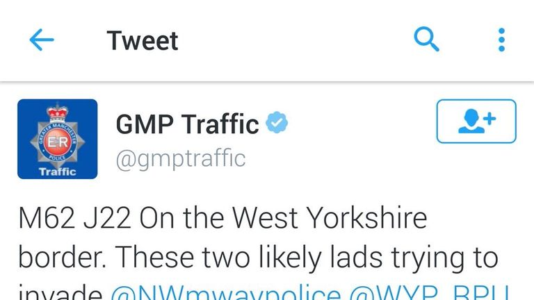 The image was posted to the GMP Traffic account