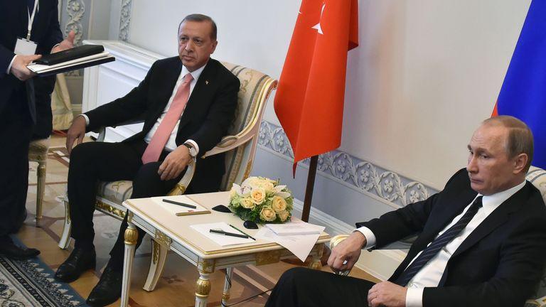 Mr Erdogan (L) and Mr Putin are seeking to repair ties between their two countries
