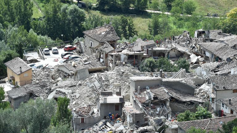 An aerial view shows the devastation in Pescara del Tronto