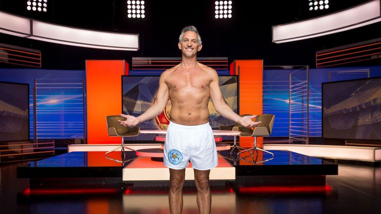 Gary Lineker presenting Match of the Day in his undies. Pic: Guy Levy/BBC/PA Wire