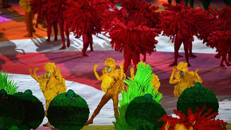 Colourful costumes at the Rio Olympics closing ceremony