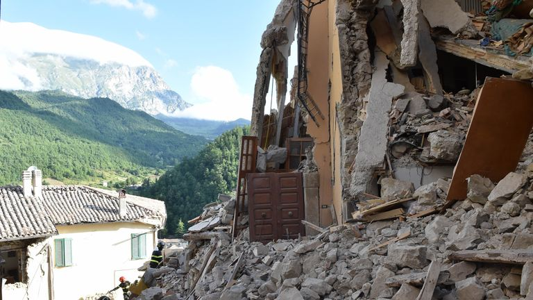 The once picturesque town of Arquata del Tronto is reduced to ruins