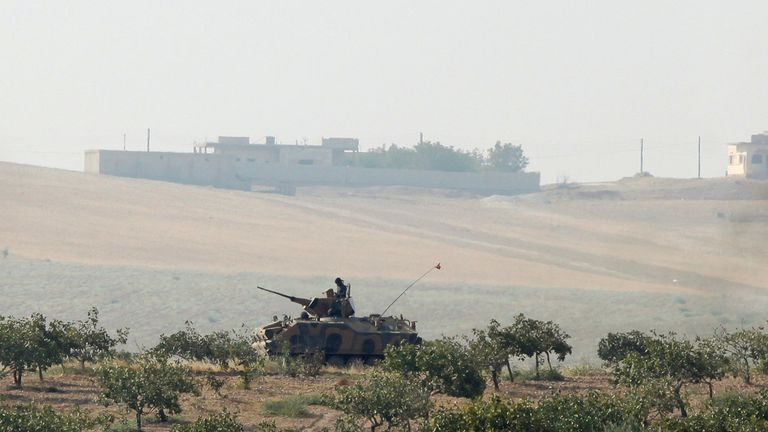 A Turkish army armoured vehicle in Karkamis on the Turkish-Syrian border in the southeastern Gaziantep province