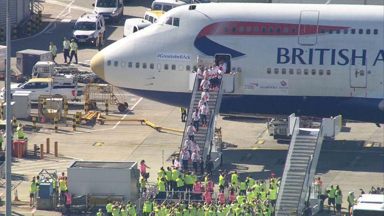 Team GB arrive at Heathrow