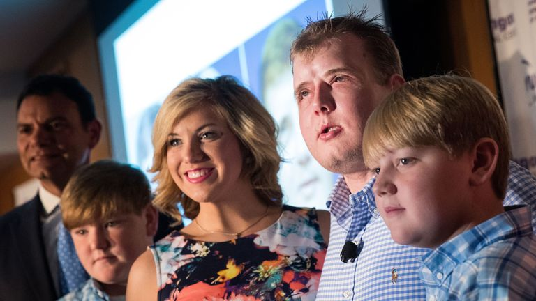Patrick Hardison with his family