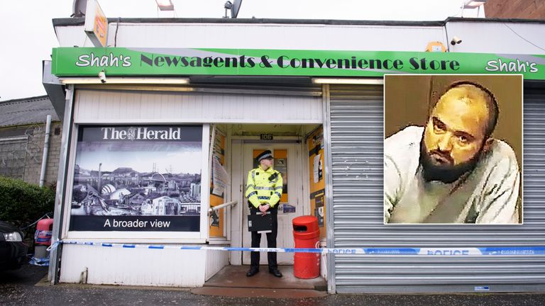 Taxi driver Tanveer Ahmed (inset) murdered Asad Shah at his Glasgow shop (pictured)