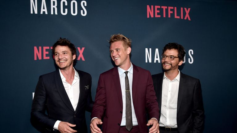Actors Pedro Pascal, Boyd Holbrook and Wagner Moura attend the season two premiere of Netflix's Narcos in Hollywood