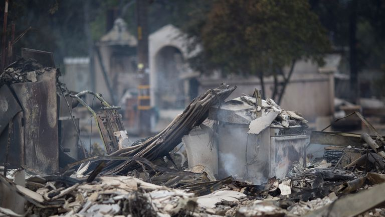 The fire left destruction in its wake, seen in Middletown, California