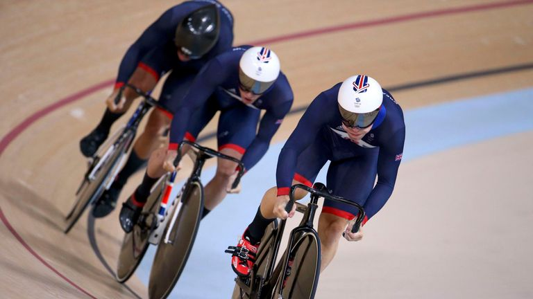 Team GB's Jason Kenny, Phil Hindes and Callum Skinner on their way to gold in the men's team sprint