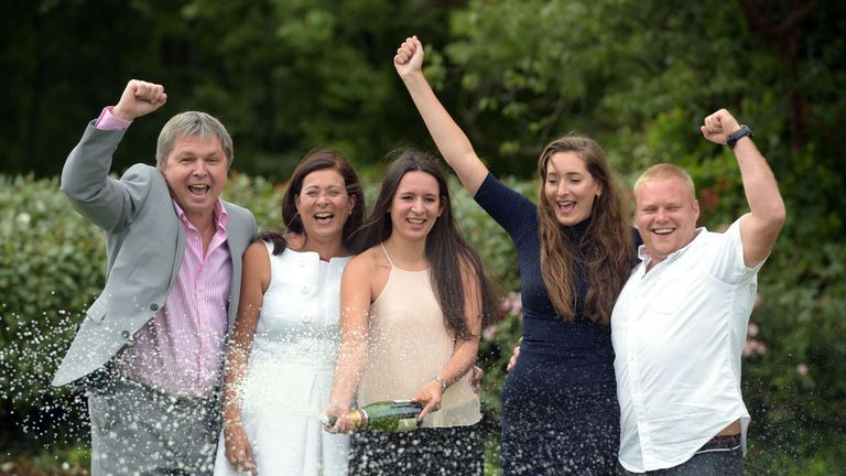 The family that has won £61m on the EuroMillions celebrate their win