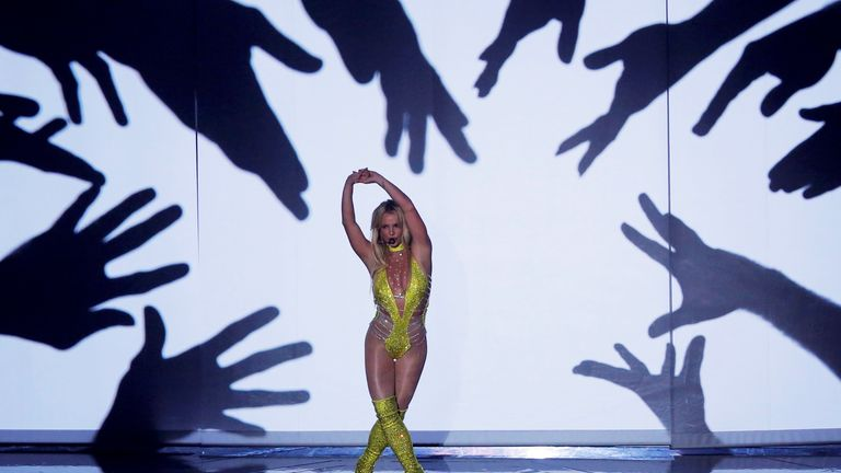 Britney Spears performs at the 2016 MTV Video Music Awards