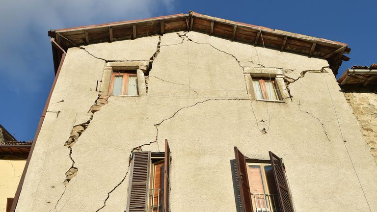 Cracks in a  damged house in Arquata del Tronto